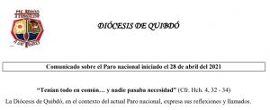 COMUNICADO DESDE QUIBDÓ, COLOMBIA